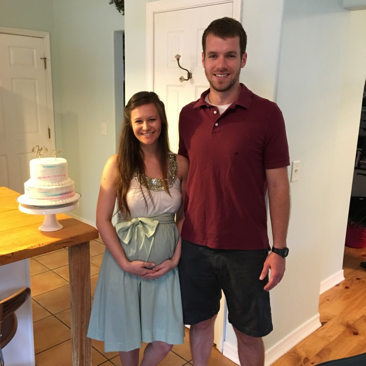 """Gender Reveal: Using the same pattern as above, I made a """"belt"""" out of the leftover fabric, literally tied it around me in a bow, & covered up the less than perfect seams that I ended up with!"""
